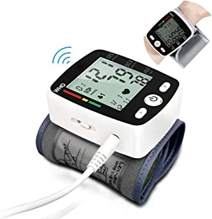ZZYYZZ Tensiómetro de Muñeca, Voz Digital automática Pantalla LCD Digital de 3.7 Pulgadas USB Recargable Uso en el hogar con portátil Ancianos