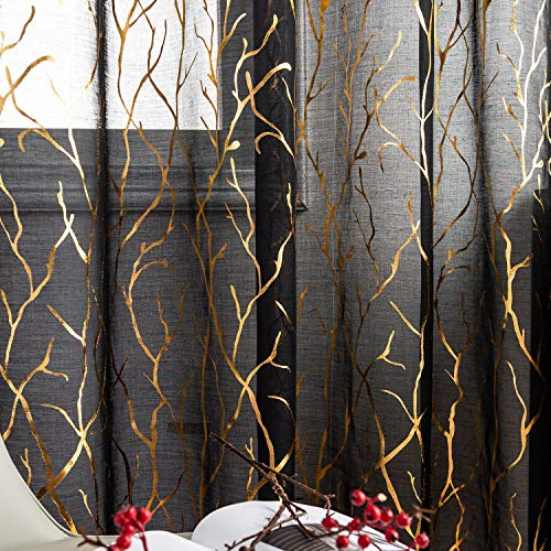 FINECITY Sheer Black and Gold Curtains - Metallic Gold Foil Tree Branch Black Sheer Curtains 84 Inch Length Botanical Theme Black with Gold Window Curtain Panel Set of 2, 52 x 84 Inch, Black Gold