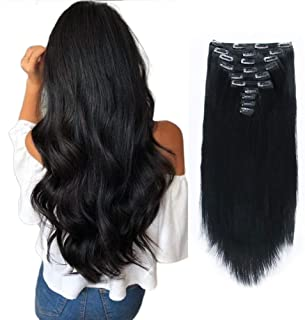SixStarHair Jet Black Clip In Hair extensions 180g 10 Pieces 20inch Made of Remy Virgin Human Hair Double Wefted Thick Sew...