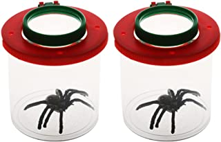 Flameer 2pcs Bug Viewer Plastic Transparent Insect Catcher Bug Box with Double-Lens