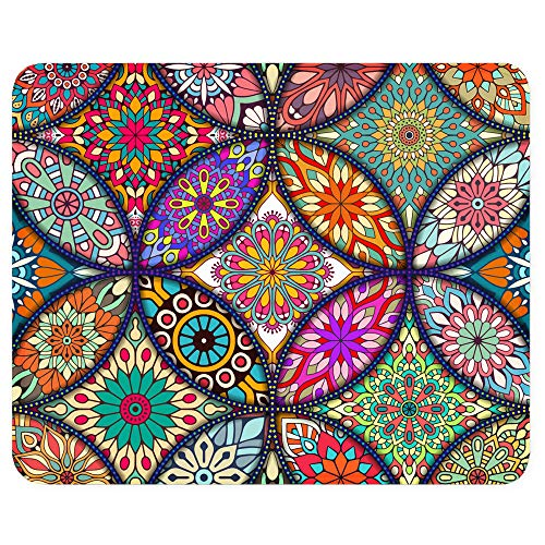 BOSOBO Mouse Pad, Floral Mandala Mouse Mat, Small Custom Mouse pad for Gaming, Office, Women and Men, Non-Slip Rubber Base, Stitched Edge, Waterproof, Rectangle 10.2 x 8.3 Inch, Flower Mousepad