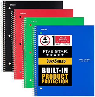 """$22 » Sponsored Ad - Five Star DuraShield Notebook with Antimicrobial Front Cover, 1 Subject, Wide Ruled, 10-1/2"""" x 8"""", 4 Pack (..."""