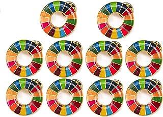 【国連本部公式最新仕様】SDGs バッジ 20mm 金色丸み仕上げ【10個】 sdgsバッチ ピンバッチ SDGs 帽子 バッグにも最適 かわいい 留め具30個付き