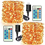 LED Decorative Fairy String Lights - Moobibear 99ft 300 LEDs Dimmable Outdoor/Indoor Starry String Lights, Warm White Copper Lights with Remote Control for Garden Room Patio Party Christmas,2Pack