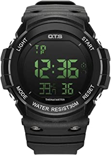 Digital Sport Watch for Men Boys 3ATM Waterproof Big Display Outdoor Military Smart Wrist Watch with Temperature LED Backlight Alarm Countdown Stopwatch