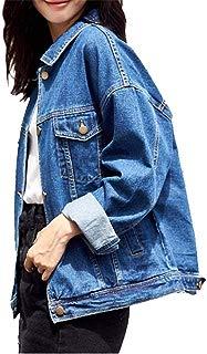 Loose Women's Denim Jackets, Vintage Navy Blue Women Jean Jackets, Long Sleeve Stretch Boyfriend Denim Jacket Coat for Women