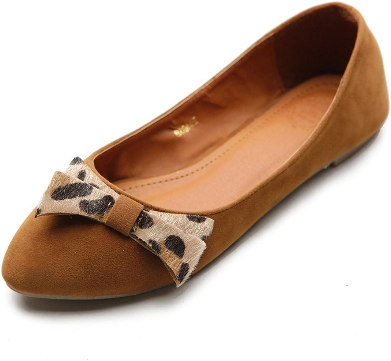 Ollio Women's Ballet shoes Faux Suede Ribbon Accent Multi color Flat