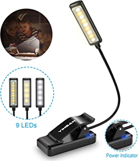 Luz de Lectura Recargable, YINSAN Lampara Libro, 9 LED con 9 Modos de Luz - 360 ° Flexible Lampara de Lectura Pinza para Lectores Noche, E-Reader, Estudio, Cama, Tablet |Negro