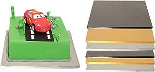 Support à gâteau | Cake Board Drum | Plat à gâteau & plateau à gâteau | Carré argenté 35 x 35 cm