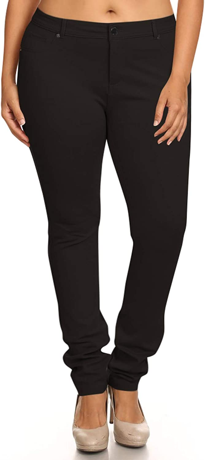 FashionStream Women's Plus Size Casual Pull-On Button Zip Basic Pockets Solid Jegging Pants