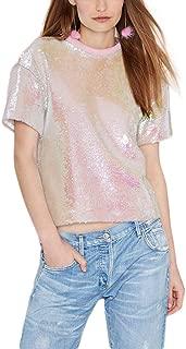 Women's Sparkly Sequin Rose Pink Crop Top Short Sleeve Sweet Tee Shirt