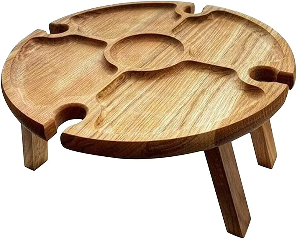 Wooden Outdoor Folding Picnic Table with Wine Glass Holder,Small Picnic Wine Tablefor Home Garden Travel Camping