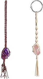Dahey Macrame Crystal Car Charms Handmade Crystal Rear View Mirrior Car Ornament Boho Hanging Crystal, Waxed Rope Wrapped Crystal Hanging for Car Home Decor,Set of 2 Color