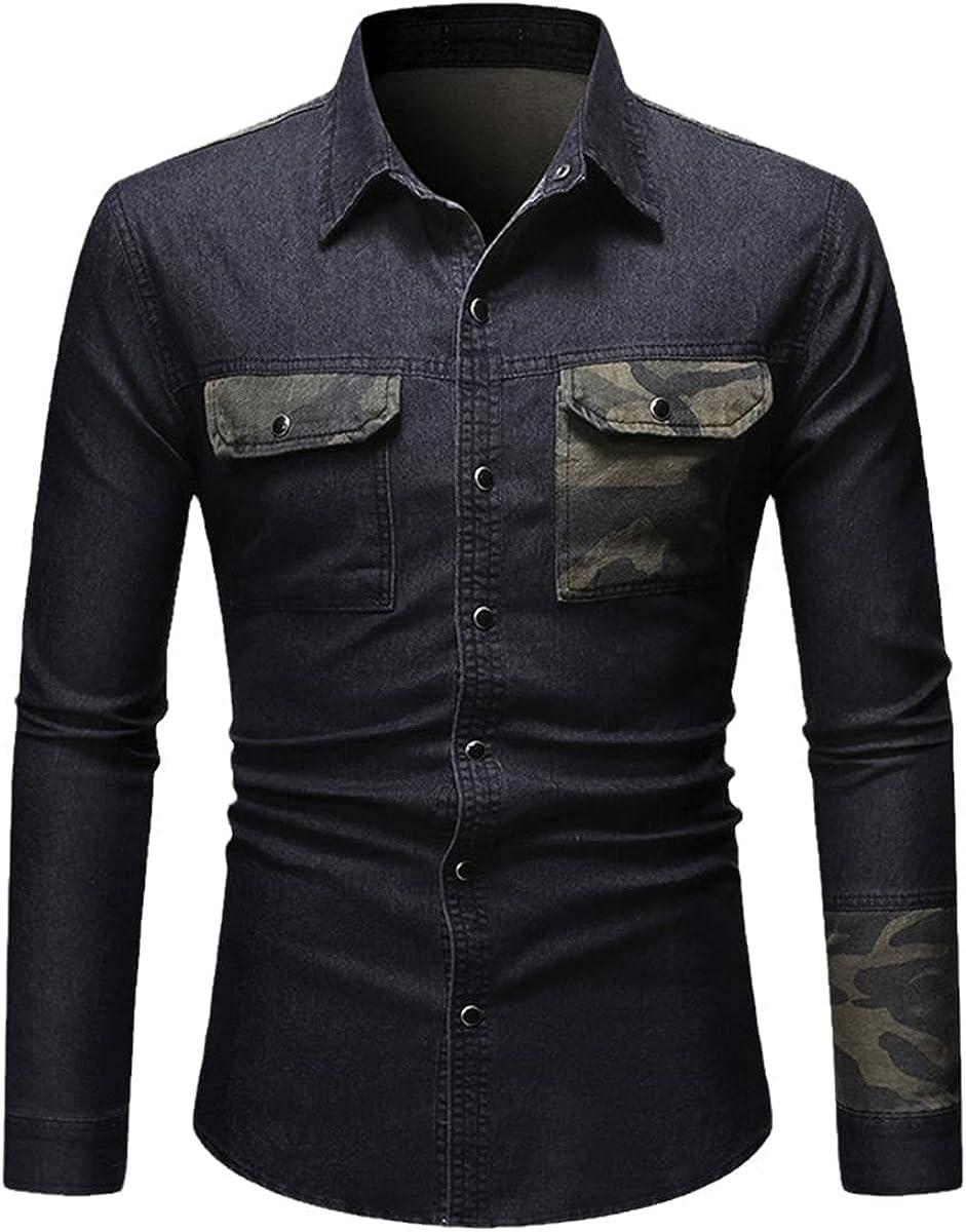 Spring Jeans Shirt Men Casual Camouflage Patchwork Long Sleeve Shirt Denim Shirt Streetwear