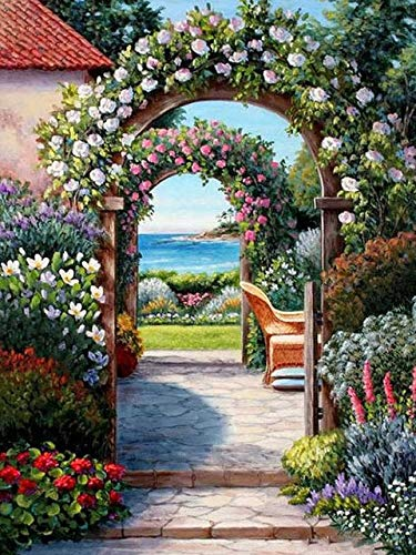 5D DIY diamante pintura jardín paisaje Kit de punto de cruz taladro completo bordado mosaico arte imagen de diamantes de imitación A5 40x50cm