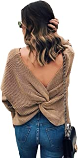 L'ASHER Women's Sexy V Neck Criss Cross Backless Long Sleeve Casual Knitted Sweater