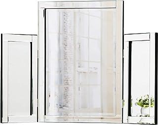 RICHTOP Miroir de Table à Trois tablettes sur Pied Miroir pour Chambre de Maquillage 78 x 54cm