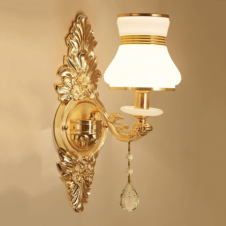 Unbekannt SKC Lighting-Wandlampe Europische Kristall Wandleuchte Wohnzimmer TV Kulisse Schlafzimmer Bedside einfache Wandleuchte (gre   Einzelkopf)
