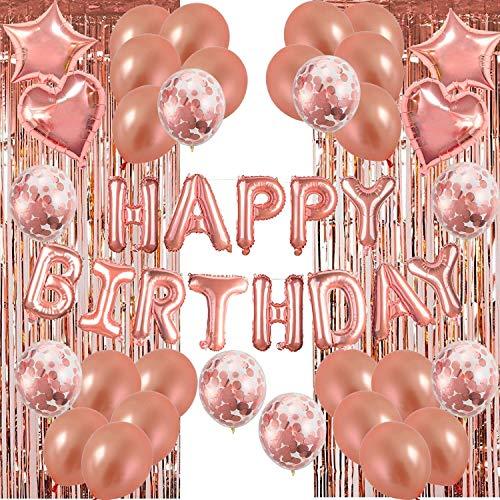 Set 49 Pack de decoraciones para fiestas de globos de cumpleaños de oro rosa, Suministro de fiesta de 46 piezas Con Banner de cumpleaños oropel metálico Pancarta Bunting de confeti Globos de aluminio