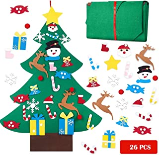 Toddler Christmas Tree-DIY Felt Christmas Tree with 26pcs Detachable Ornaments, Xmas Gifts Home Door Wall Decoration, New ...