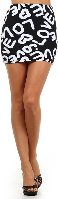 2Chique Boutique Women's Love Print Knit Miniskirt