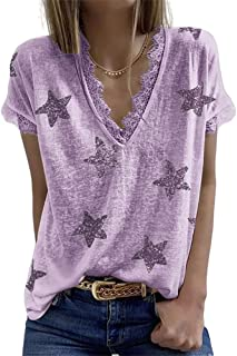 XWLY Women Short Sleeved Summer V Neck Women T-Shirts Unique Lace Collar Star Pattern Design Women Tops Everyday Leisure T...