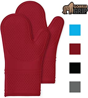 Gorilla Grip Premium Silicone Non Slip Oven Mitt Set, Soft Flexible Oven Gloves, Professional Heat Resistant Kitchen Cooking Mitts, Protect Hands from Hot Surfaces, Cookie Sheets, Red Pair, Set of 2