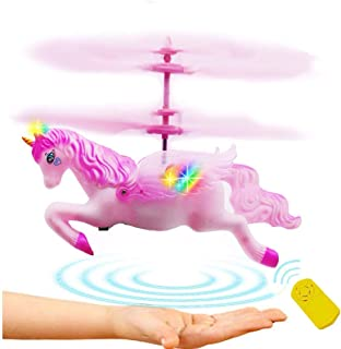 Anda Unicorn Toy Gift Girl 6 Years Old, Pink Mini RC and Hand Control Flight Helicopter Unicorn Fairy Tale Doll Birthday Christmas Party Supplies.(Flying Unicorn)