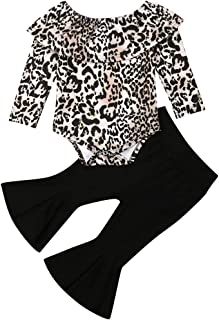 Baby Girls Outfits Crop Top Shirt+ Bell-Bottom Leopard Pants Flare Sleeve Loose Ruffle laceAutumn Set