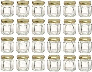 Hexagon Glass Jars, Mini Hex Jars 1.5 Oz - Case of 24