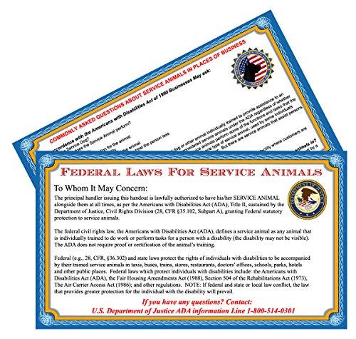 Service Hund Info cards-50Ada Service Hund Informationen Karten State Ihren gesetzlichen Rechte