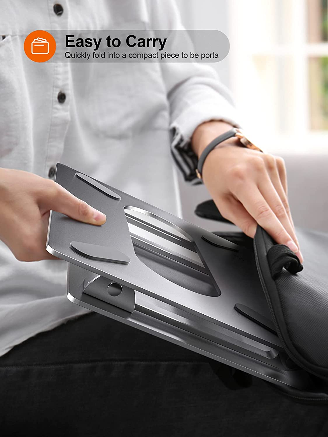 """Adjustable Laptop Stand For Desk, Ergonomic Portable Computer Stand Aluminum Laptop Holder with Heat-Vent to Elevate Laptop, MacBook, Air, Pro, Dell XPS, Samsung, 11-17"""" All Laptop Stand Holder : Electronics"""