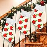 LIUBT Calze di Natale con Motivo a Mela Rossa, 45 cm, per Feste di Famiglia, Decorazioni Natalizie, Multi, 17.71x12.20inx1