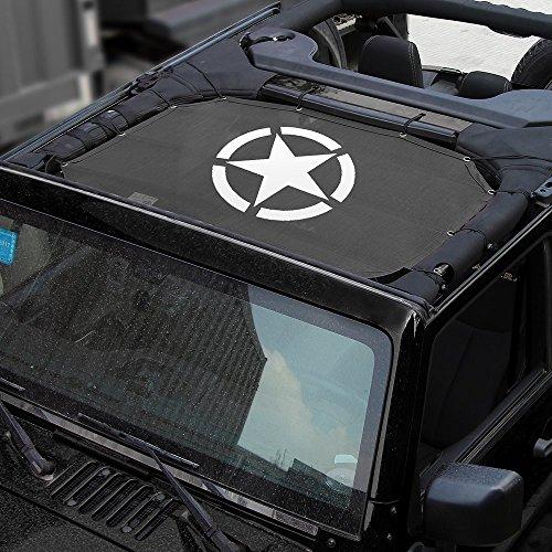 L&U Top Sonnenschutz Dachabdeckung Dach Anti UV Sonnenschutz Mesh Net für Jeep Wrangler JK JKU 2007-2017,Frontseat2door/4door