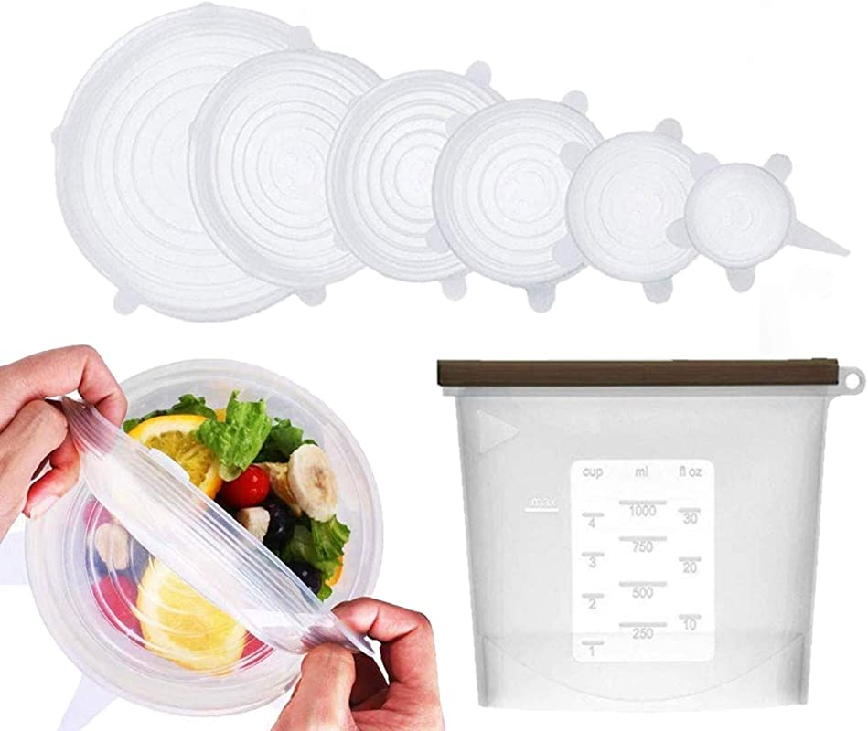 Reusable Silicone Stretch Lids 6 Pack PLUS 1L Food Storage Bag Durable Expandable Covers To Fit Various Size Bowls Dishes Cups Cans And Pots Microwave And Dishwasher Safe