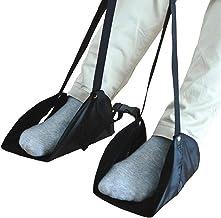 Apoio para os pés para avião preto Almofada portátil de descanso para os pés Rede para os pés com alça ajustável para aviã...