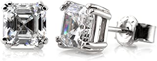 Rhodium Plated Sterling Silver Asscher Cut Cubic Zirconia CZ Solitaire Anniversary Wedding Stud Earrings 4mm 0.78 CTW