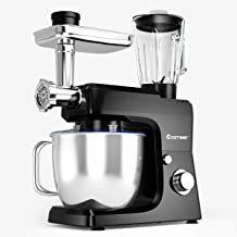 COSTWAY 3-in-1 Stand Mixer, 800W 6-Speed Tilt-Head Food Mixer, 7 QT Upgraded Kitchen Electric Mixer w/ Whisk, Dough Hook, 2 Beaters and 304 Stainless Steel Bowl, Meat Grinder, Juice Blender, Sausage Stuffer (Black)