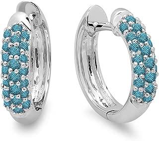 0.30 Carat (ctw) 10K Round Blue Diamond Ladies Pave Set Huggies Hoop Earrings 1/3 CT, White Gold