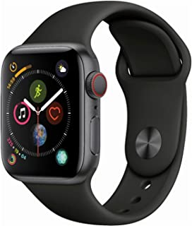 Apple Watch Series 4 (GPS + Cellular, 44mm) - Space Gray Aluminium Case with Black Sport Band (Renewed)