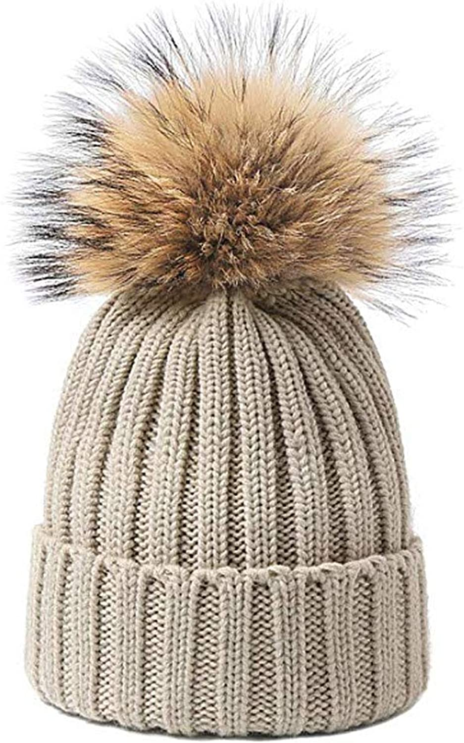 QiCheng Winter Hat with Pom Pom Faux Fur Beanie Hat Knitted Hat Patterns for Women