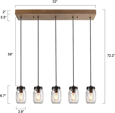 Kitchen Island Lighting,5-Lights Farmhouse Chandeliers for Dining Rooms,Mason Jar Lights Pendant Lighting for Kitchen Island