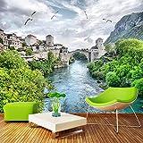 Murales De Pared 4D Papel Pintado,River Forest Castillo Creativa Naturaleza Del...