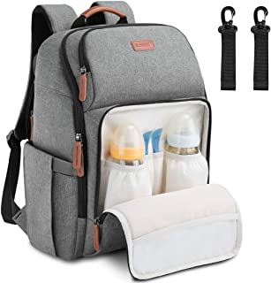 Baby Diaper Bag Backpack Large Multifunction Water Resistant Neutral Baby Bag for Mom Dad Lightweight Maternity Nappy Bag Travel Backpack with Insulated Pockets and Stroller Straps Gray