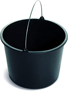 Seau de chantier Benbow en plastique avec un doseur | Noir | avec manche en métal | Seau à mortier, de jardin et de chanti...