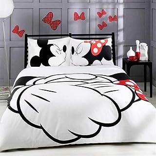 XWXBB Disney Mickey Minnie - Juego de ropa de cama – Funda nórdica y funda de almohada de microfibra, impresión digital 3D de tres piezas (135 x 200 cm)