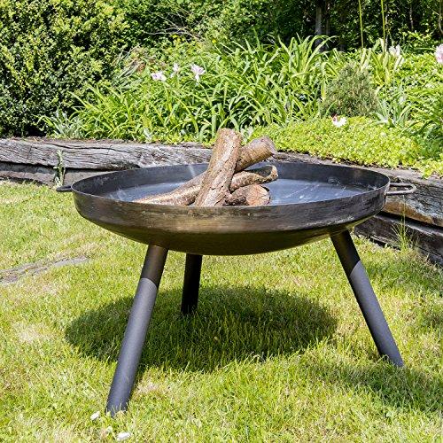 Köhko Feuerschale + 2 Griffen + 3 lackierten Beine Anti-Rost (40 cm rund) 41004R