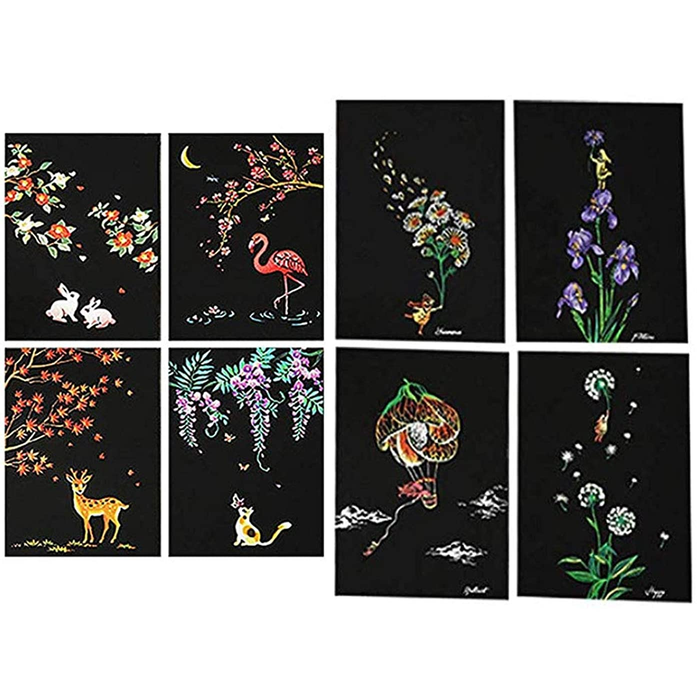 Eraimp Scratch Art Paper, Magic Color Scratch Art Painting, DIY Arts & Crafts, Rainbow Scratchboard Postcards for Kids and Adults with Drawing Stick (#B)