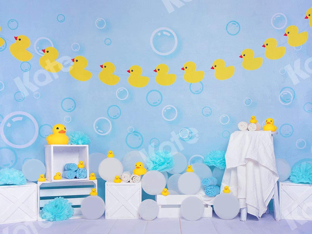 Kate 10/×10ft Yellow Rubber Duck Kids Backdrop Baby Shower Photo Backdrops Chilren Photo Studios Prop for Newborn Chilren Birthday Photography Party Decoration Blue