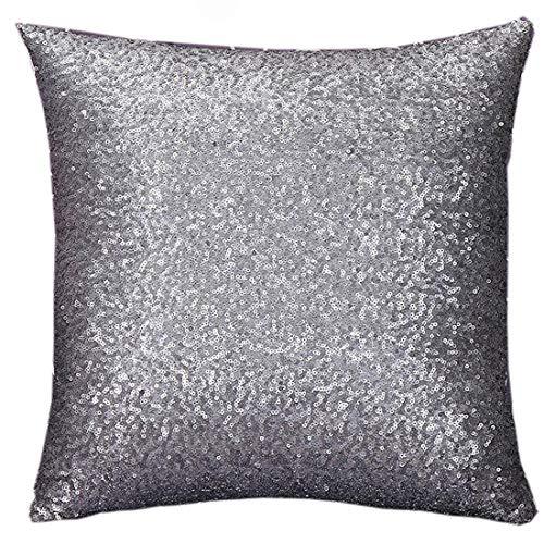 Yohope Funda de cojín cuadrada para sofá, 40 cm x 40 cm (gris)